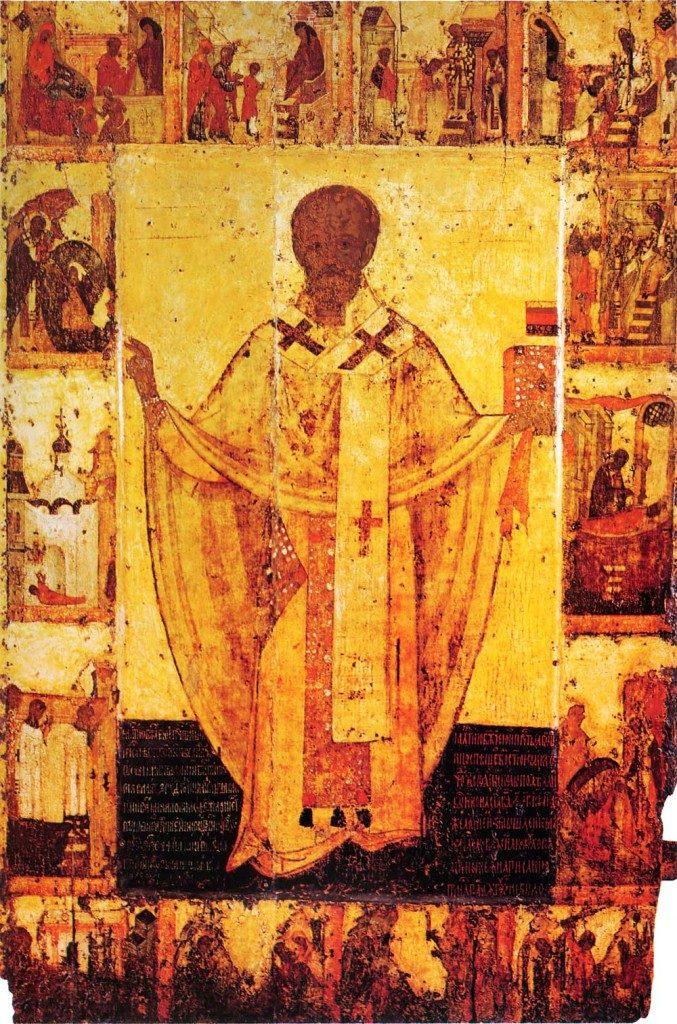 Никола Зарайский, житийная икона с 14 клеймами