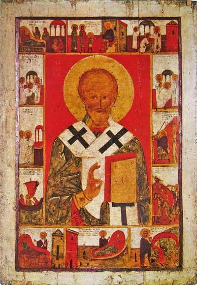 Никола поясной, житийная икона с 12 клеймами